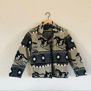 Vintage Jane Ashley Wild Horses Tapestry Jacket